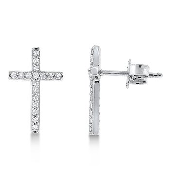 Diamond Cross Earrings in 14K White Gold with 34 diamonds weighing .18ct tw