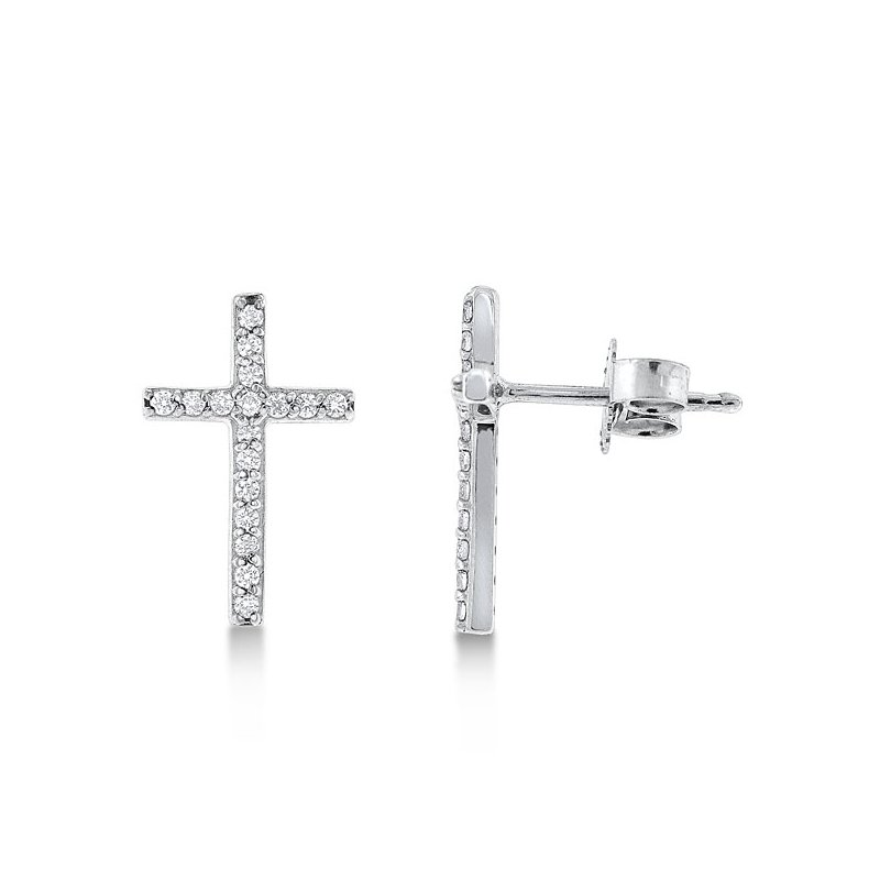 KC Designs Diamond Cross Earrings in 14K White Gold with 34 diamonds weighing .18ct tw