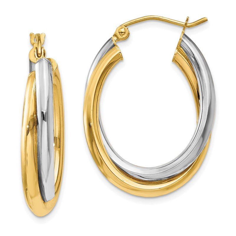 Details about  /14K Two-Tone Gold Two Tubes Oval Hoop Earrings MSRP $241