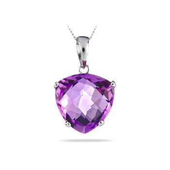 14K WG Chequered Cut Amythest Purple Pendant