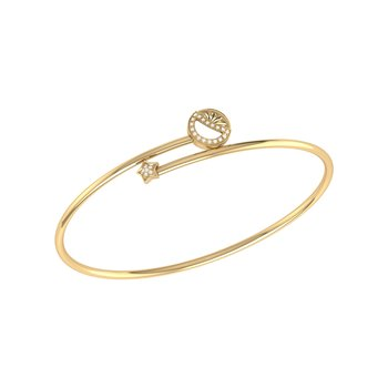 Half Moon Star Bangle in 14 KT Yellow Gold Vermeil on Sterling Silver