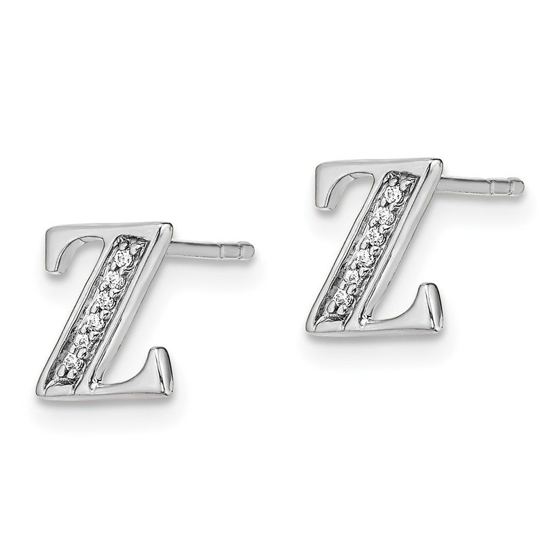 Quality Gold 14k White Gold Diamond Initial Z Earrings