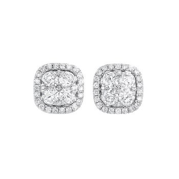 Diamond Cushion Halo Cluster Stud Earrings in 14k White Gold (½ ctw)