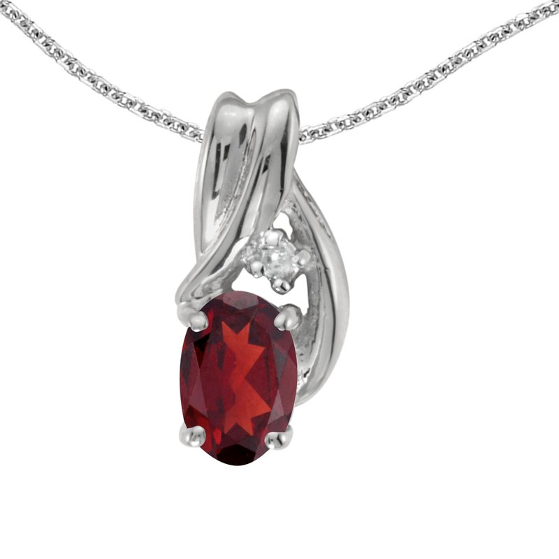Color Merchants 10k White Gold Oval Garnet And Diamond Pendant