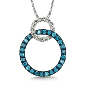 Pave set Blue and White Diamond Linked Circle Pendant, 10k White Gold  (1/2 ct. dtw.)