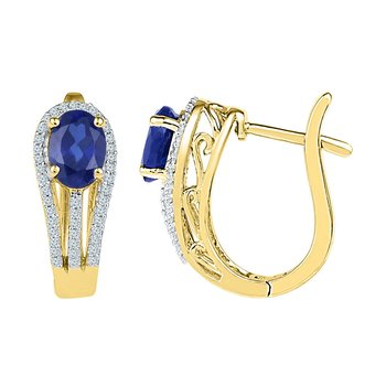 10kt Yellow Gold Womens Oval Lab-Created Blue Sapphire Diamond Hoop Earrings 2-5/8 Cttw