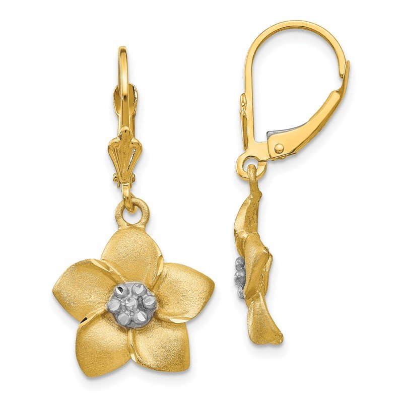 Quality Gold 14K and Rhodium Plumeria Earrings