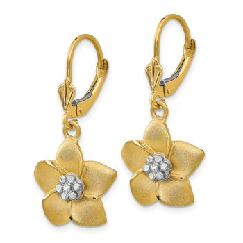 14K and Rhodium Plumeria Earrings