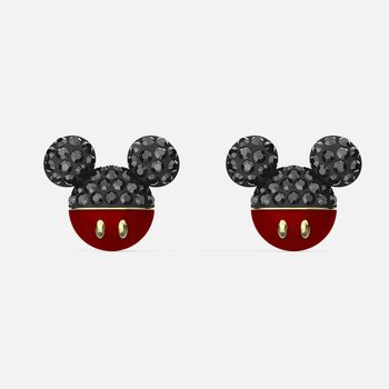 Mickey Pierced Earrings, Black, Gold-tone plated