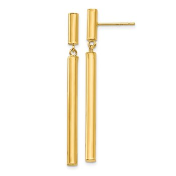 14k Fancy Dangle Round Tube Earrings