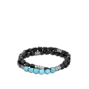 Classic Chain Double Wrap Bracelet in Silver with  Gemstone