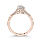 Promezza 14K Rose Gold Oval Diamond Halo Cathedral Style Engagement Ring with Split Shank