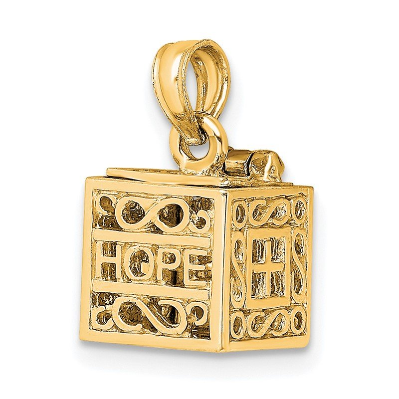 Quality Gold 14K 3D Faith and Hope Prayer Box Charm