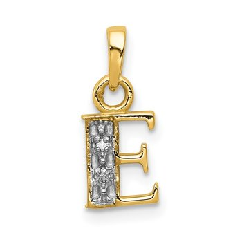 14KY with Rhodium Diamond Letter E Initial Pendant