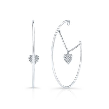 White Gold Dangling Heart Hoop