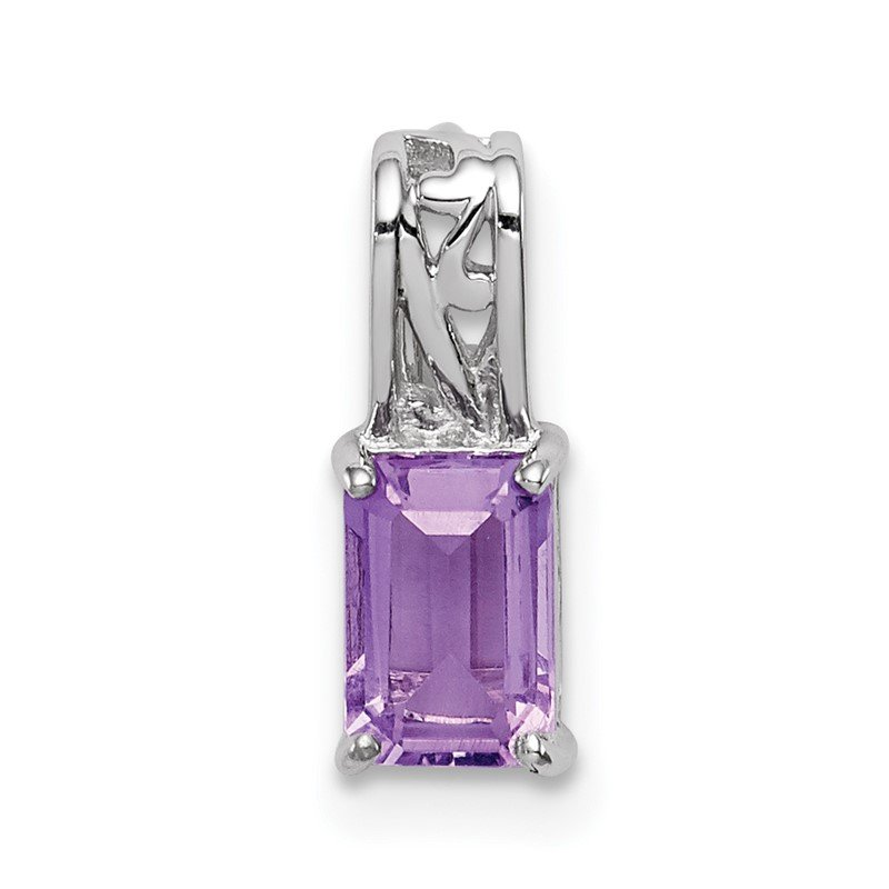 JC Sipe Essentials Sterling Silver Rhodium Plated Amethyst Rectangle Pendant