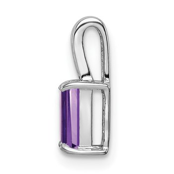 Sterling Silver Rhodium Plated Amethyst Rectangle Pendant