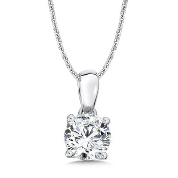 Round Diamond Solitaire Pendant in 14K White Gold (2 ct. tw.)