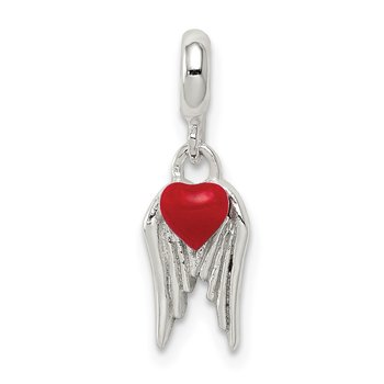 Sterling Silver Red Enameled Heart w/ Wings Enhancer