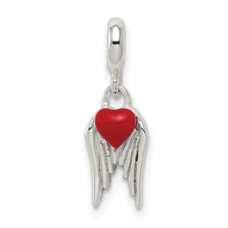Quality Gold Sterling Silver Red Enameled Heart w/ Wings Enhancer