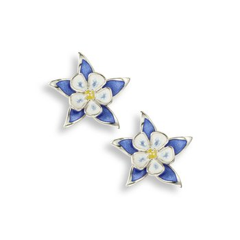 Blue Columbine Stud Earrings.Sterling Silver