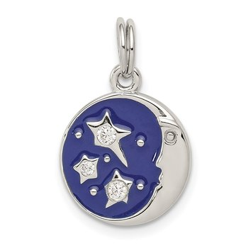 Sterling Silver Enameled and CZ Moon & Star Charm