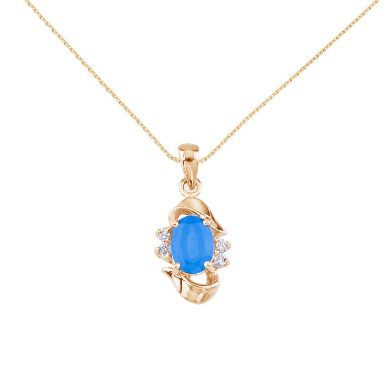 Color Merchants 14k Yellow Gold Oval Blue Topaz And Diamond Pendant