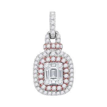 18kt Rose Gold Womens Round Pink Diamond Square Cluster Fashion Pendant 3/8 Cttw