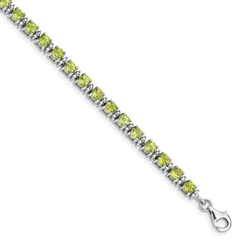 Sterling Silver Rhodium-plated Peridot and Diamond Bracelet