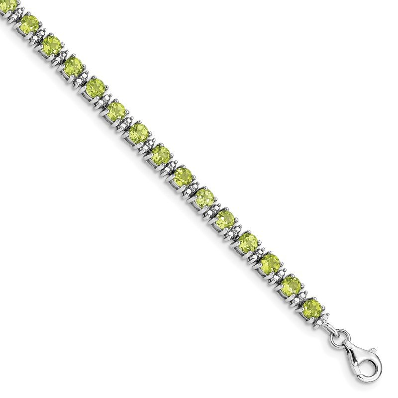 Quality Gold Sterling Silver Rhodium-plated Peridot and Diamond Bracelet