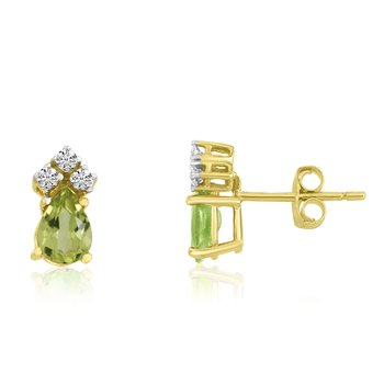 14k Yellow Gold Peridot Pear Earrings with Diamonds