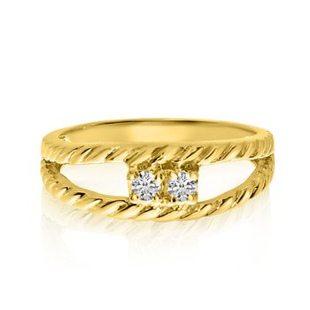 14K Yellow Gold Braided Two-Stone Diamond Ring