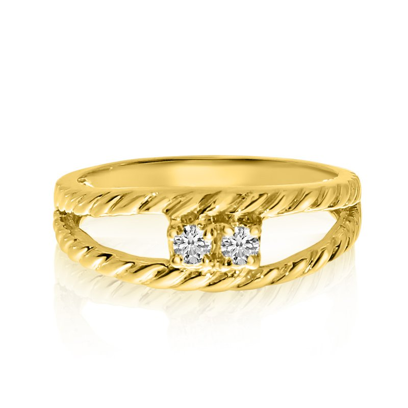 Color Merchants 14K Yellow Gold Braided Two-Stone Diamond Ring