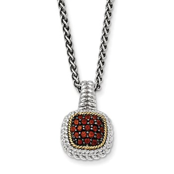 Sterling Silver w/14k and Black Rhodium Garnet Necklace
