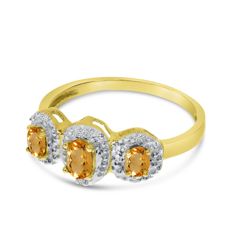 Color Merchants 10k Yellow Gold Oval Citrine And Diamond Three Stone Ring