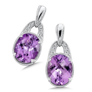 Sterling Silver Amethyst White Diamond Post Earrings