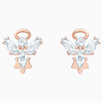 Magic Angel Stud Pierced Earrings, White, Rose-gold tone plated