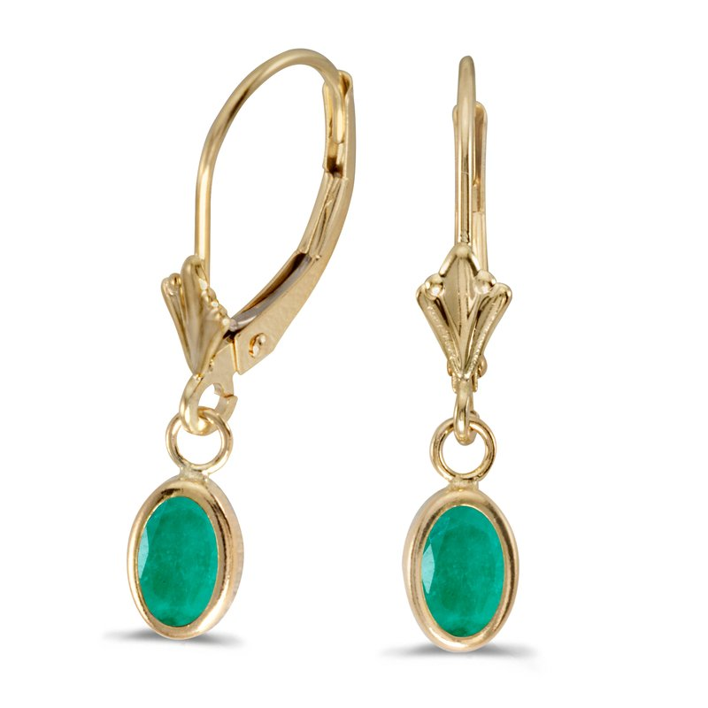 Color Merchants 14k Yellow Gold Oval Emerald Bezel Lever-back Earrings