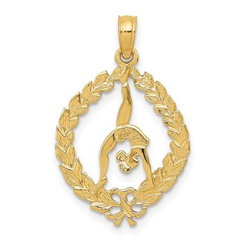 14k Solid Polished Framed Gymnast Pendant