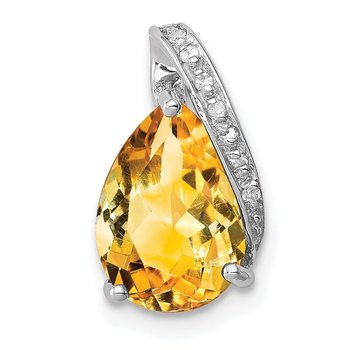 Sterling Silver Rhodium Pear Citrine Pendant