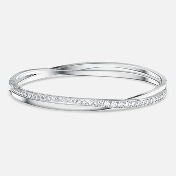 Twist Rows Bracelet, White, Rhodium plated