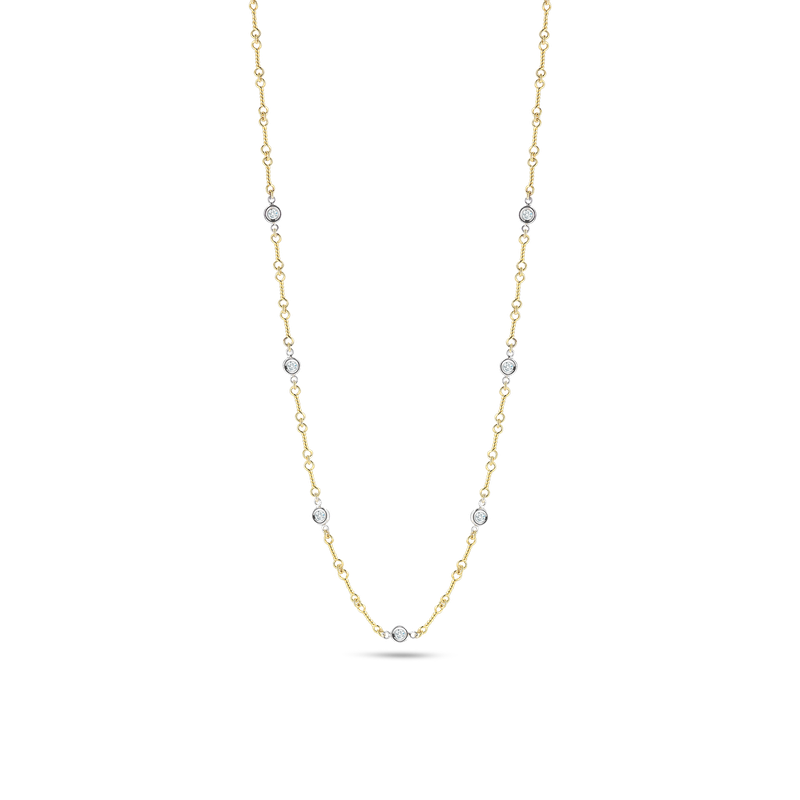 Roberto Coin 18KT GOLD DOG BONE CHAIN NECKLACE WITH 7 DIAMOND STATIONS
