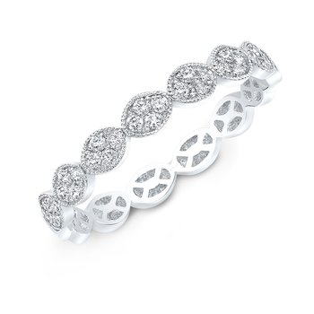 White Gold Milgrain Oval Pave Stackable Band