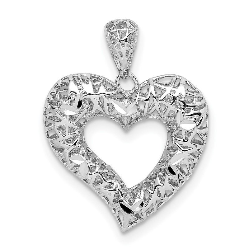 Fine Jewelry by JBD Sterling Silver Rhodium-plated Polished D/C Heart Pendant