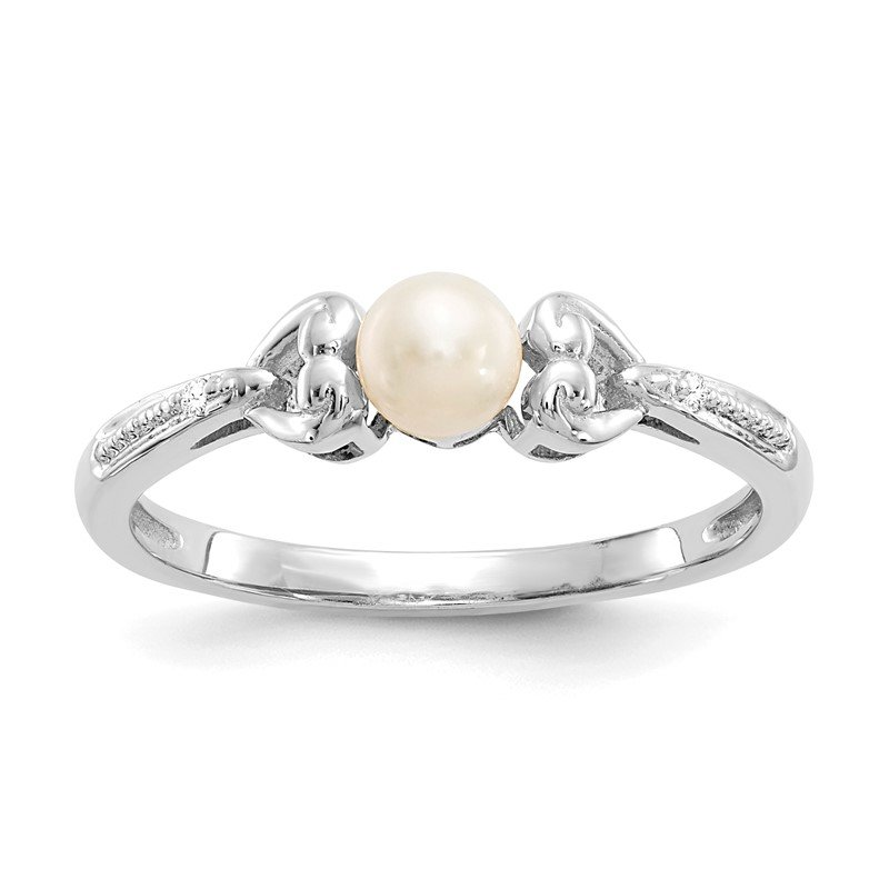Quality Gold 10k White Gold FW Cultured Pearl and Diamond Ring