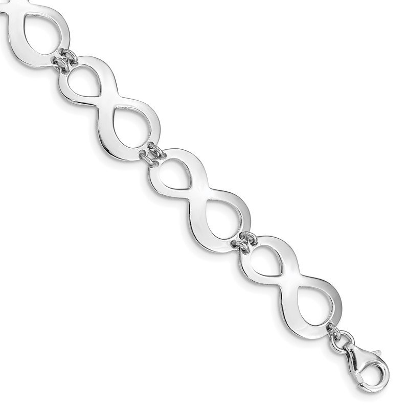 Quality Gold Sterling Silver Rhodium-plated Infinity w/1in. Ext. Bracelet