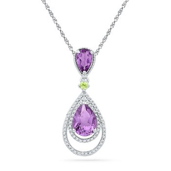 10kt White Gold Womens Oval Lab-Created Amethyst Diamond Teardrop Pendant 1-1/2 Cttw