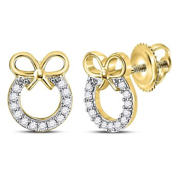 10kt Yellow Gold Womens Round Diamond Circle Bow Ribbon Fashion Earrings 1/10 Cttw