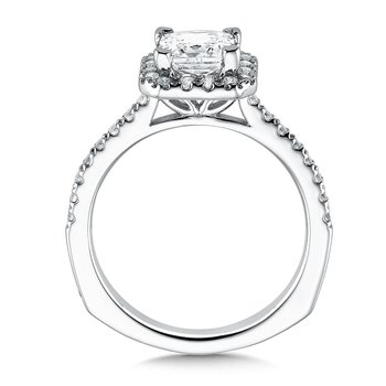 Cushion shape halo mounting .35ct. tw., 1 1/4 ct. Princess cut center.