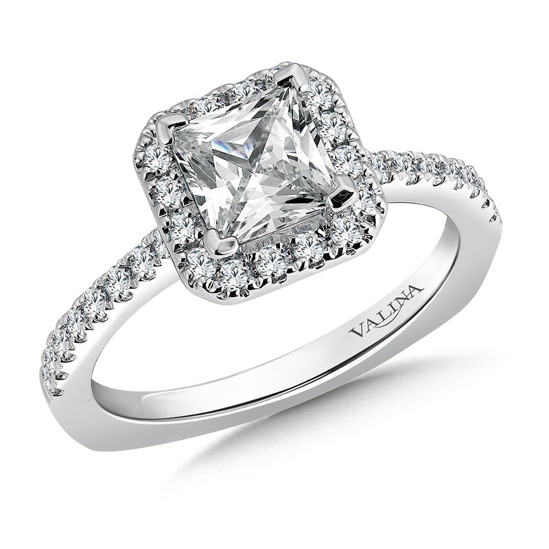 Valina Bridals Cushion shape halo mounting .35ct. tw., 1 1/4 ct. Princess cut center.